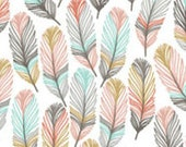 Changing pad cover in gray, pink/coral, aqua and mustard feather fabric. Shower gift, modern,stag, girl, Lavender Linens, aztec, arrow