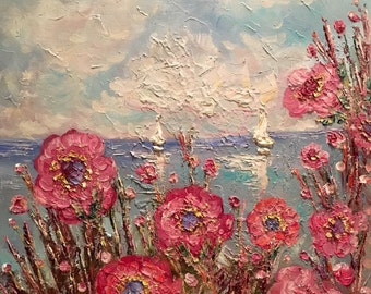 KADLIC Original Oil Painting Modern Contemporary Vertical Poppies Pink Red Impasto Landscape ABSTRACT Art 24x20