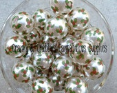 20mm Holly Print on White Pearl Beads  -  Chunky Necklaces - Set of 10 - Christmas, XMAS, Holly