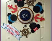 Personalized Nautical Mickey and Minnie Mouse Magnet Wreath for Cruise Door