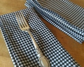 Black and White Gingham Cloth Napkins - Set of 4, Weddings, Parties, Everyday Meals by CHOW with ME