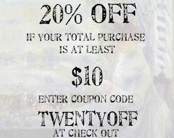 Xtra Savings COUPON CODE: 20% off if your purchase is at least 10 dollars; Use coupon code TWENTYOFF; (please do not purchase this listing)