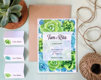 Printable Succulent Save The Date - Wedding Save The Dates - Print yourself - Greenery Save The Date - Succulent Design Save The Date