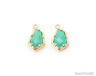 Turquoise Pentagon Charm in Gold / 6.6mm x 11.6mm / STQG097-P (2pcs)