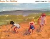 CIJ SALE Figurative seascape, original acrylic painting, art on paper, small original seascape, painting, impressionist art