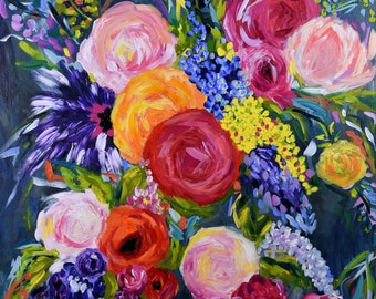 "Large Bold Abstract, Floral Still LIfe, Bright Bouquet, Flowers, Modern Still Life, 36"" x 36"", Original Canvas ""Nola"" Free Ship!"