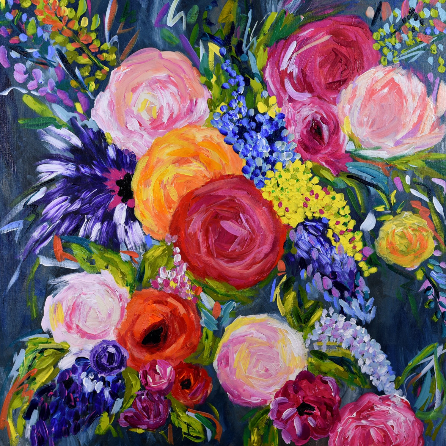 Large bold abstract floral still life bright bouquet for Bright flower painting