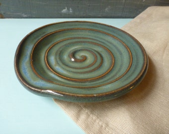 Spoon Rest, Spoon Holder, Dish, Blue, Green, IN STOCK, ready to ship