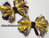 LSU Gold and Purple Gingham Check Hair Bow and White Back to School Boutique Uniform Accessory Piggy Tails