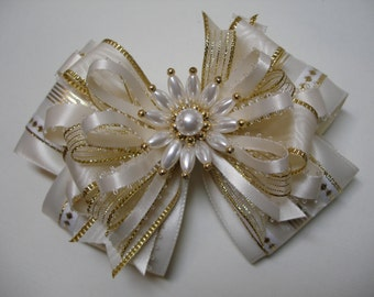 Ivory and Gold Hair Bow Unique Big Large Elegant Wedding Flower Girl Pageant Boutique Dressy Fancy Special Occassion