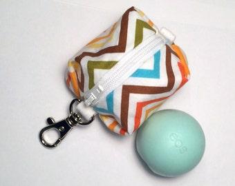 EOS style lip balm holder zipper pouch with clip - for circle or egg shape lip balms - Rainbow Chevron