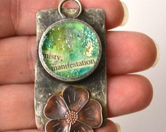 Handmade OOAK Pendant, Solder Bezel, Copper, Mixed Media Pendant, Artisan Bezel Pendant, Pipe Bezel Charm, Resin Layers, Misty Manifestation