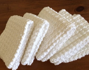 Hand Knit Dish Cotton Cloths Set of 5 - White