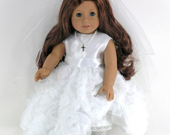 18 inch Clothes For American Girl - First Communion Doll Dress, Cross Necklace, Veil, Pantalettes- Satin, Floral Overlay- Shoes, SocksOption