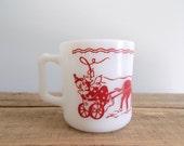 Hazel Atlas Child's White Milk Glass Circus Mug