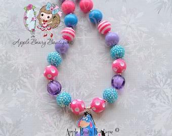 Eeyore Necklace Eeyore Donkey Chunky Necklace Winnie the Pooh Necklace Eeyore Bubblegum Necklace Donkey Chunky Bubblegum Necklace
