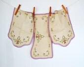 Vintage Linen Embroidered Set ~ Antimacassar Set ~ Hand Embroidered Linen ~ Crochet Linen Dresser Set