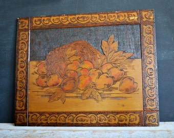 Pyrography Wood Art | Pyro Art | Flemish Art | Still Life | Antique Wood Carving | French Country Decor | Country Living