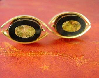 GEMSTONE Mosaic Cufflinks vintage jasper Onyx little slices of Earth Treasures tuxedo wedding gold Cuff link Accessory Swank
