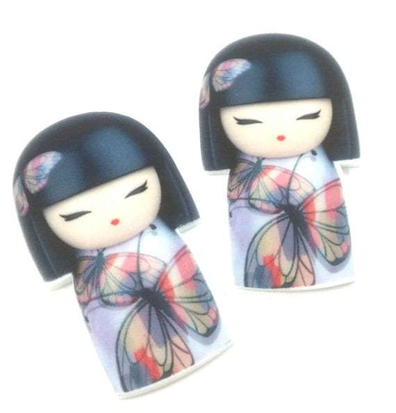 Laser Cut Supplies-2 Pieces.26mm Japanese Doll Charms-Laser Cut Acrylic-Jewelry Supplies-Little Laser Lab.Online Laser Cutting Australia