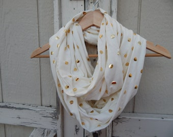 Mommy and Me Cream Scarf With Gold Polka Dot Scarf White Scarf With Silver Polka Dot White Scarf Cream Infinity Scarf Girls Infinity Scarf