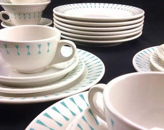 Homer Laughlin midcentury modern Best Resturant China white teal hourglass triangle border