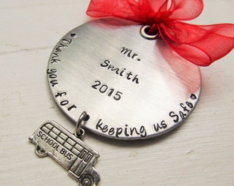 Personalized Hand Stamped Bus Driver Christmas Ornament School Bus Driver Ornament Gift for Him Gift for Her