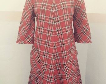 Fabulous royal Stewart tartan dress with large pockets. A line, swing,shift dress is a UK size 20 Plus size and US size 16