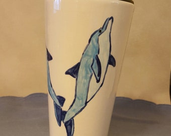 16 oz Covered Travel Mug with Hand-Painted Dolphin Design