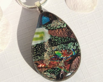Supremely Colorful Dichroic Glass Pendant - Fused Glass Jewelry - Paisley Drop Shape Multicolor Glass Necklace