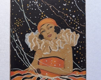 Pierette painting, vintage,. Art Deco.  A delightful poster colour on art board painting of a Pierette, by F. Ward. 1920's.