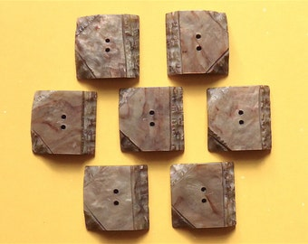 Intermixed resin buttons, set of 7, late Deco, vintage. A look of hewn stone, square, browns- a hint of rust. c1940's - early 50's