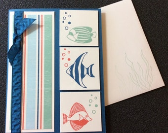 Any Occasion, Friendship, Fish, Coastal, Nautical, Handmade, blank, card