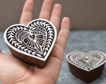 Heart stamp finely carved traditional Indian Henna carved wood block