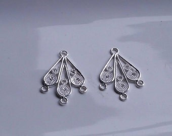 2 Pieces 925 Sterling Silver Component Station For Earrings, 3 Multi Strand Bracelet or Necklace 20mmx14mm