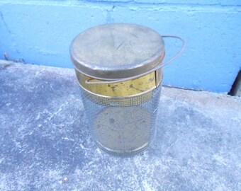 Vintage Primitive Cricket Box Bait Basket Handmade Mesh & Tin Container Fisherman's Tackle Camp Cabin Lake River Restaurant Bar Decor