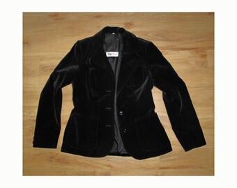 Black velvet jacket by Susan Small, size S/M