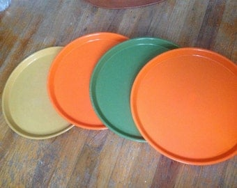 SET OF 4 mid-century retro silite plastic eames cafeteria trays serving