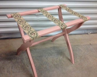 Vtg Folding Luggage Stand Suitcase Rack Wood Tapestry Straps Hotel Mid Century