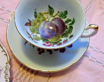 Tea Cup and Saucer, Royal Grafton, English, Bone China, Fruit Center, Pale Blue
