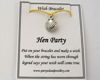 Hen Party SHELL Charm Friendship Bracelet with Wish Message Card - Choose Colour - Beach Hen Holiday