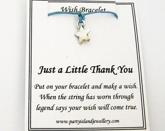 LITTLE THANK YOU Star Charm Friendship Bracelet in 12 Colours with Wish Message Card
