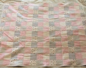 Flannel Pink and Gray Baby Girl Quilt Crib Size.  LDT028