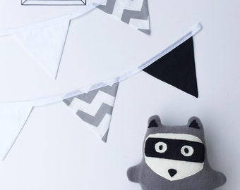Handmade Grey Black and White Woodland Racoon Softie / Plushie Toy / Kids Decor