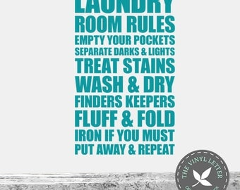 Laundry Room Rules Vinyl Wall Decal Sticker