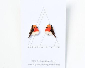 Hand drawn Robins. Bird Earrings.