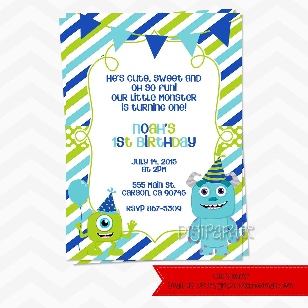 Monster Inc 1st Birthday Invitations