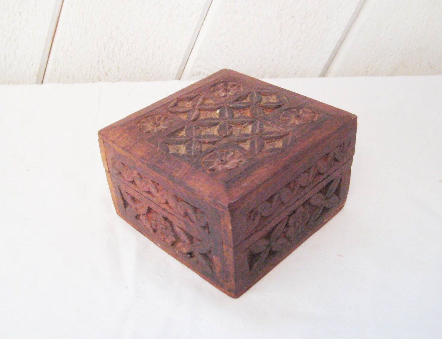 Hand carved small box rustic wood box decorative box hinged - Small rustic wooden boxes ...