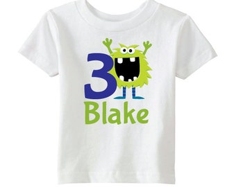 Monster Birthday Shirt - Boys Birthday Shirt - Personalize with Name and Age