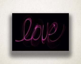 Neon Love Writing Canvas Art Print, Love Script Wall Art, Love Canvas Print, Word Art Wall Art, Canvas Art, Canvas Print, Home Art, Wall Art